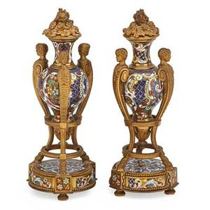 Pair of french champleve urns foliate decoration with gilt bronze figural handles and mount 19th c 10 12