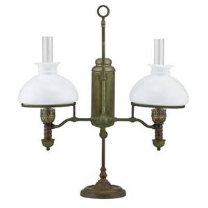 Manhattan brass double student lamp nickel plated brass base with original fixtures never electrified late 19th c 26 x 23