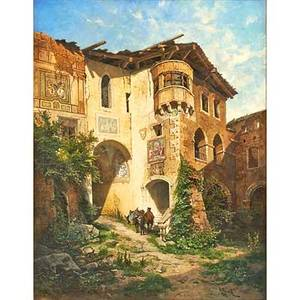 Leopold munsch austrian 18261888 oil on canvas of castle courtyard in the ridges 1871 framed signed titled and dated 37 x 29 provenance the estate of ilse muska new jersey