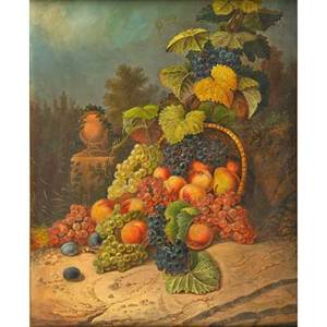 20th c still life painting oil on canvas of fruit basket framed 30 x 25