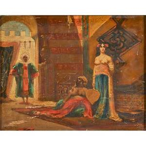 19th c orientalist painting oil on panel of middle eastern figures in interior setting framed 12 12 x 16