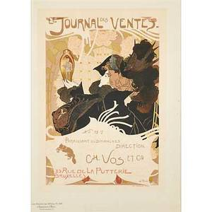 Georges de feure dutch 1868 1943 lithograph in colors le journal des ventes from les maitres de laffiche pl 146 framed 15 x 10 12 sight