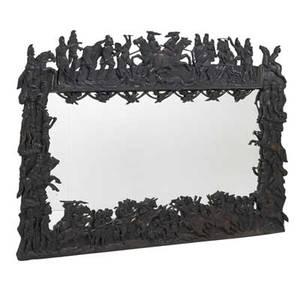 Carved military mirror ebonized hardwood depicting men on horseback early 20th c 85 x 42
