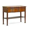 George iii style server mahogany with marble top over two drawers 20th c 28 12 x 53 12 x 21