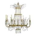 Neoclassical baltic chandelier six light with gilt bronze arms and cut glass floral blossoms 19th c 48 x 38