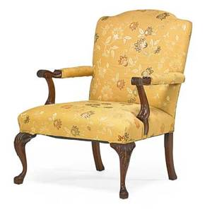 George ii style library armchair mahogany with upholstered silk seat and back 20th c 37 12 x 27 12 x 25