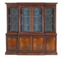 George iii style breakfront mahogany with mirrored back and four doors over paneled base 20th c 82 x 83 x 17 12