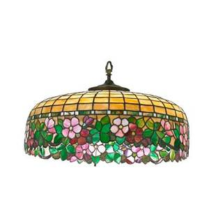 Arts and crafts leaded glass chandelier floral design with apple blossom skirt 20th c 12 x 24