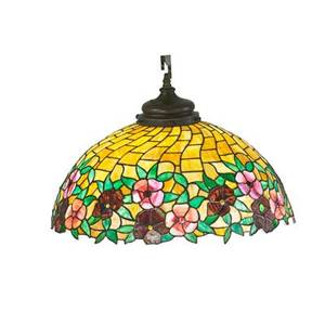 Arts and crafts leaded glass chandelier jeweled floral decoration in leaded glass 20th c 15 x 24