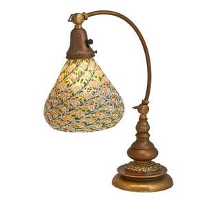 Durand glass desk lamp attr crackle design with iridescent interior shade on bronze base early 20th c 17 12