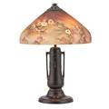 Jefferson reverse painted table lamp attr glass shade with clusters of flowers on bronze base early 20th c 25 x 18