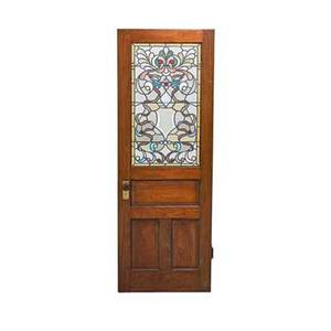 Leaded glass door jeweled abstract design in raised panel early 20th c door 83 x 30 glass 38 x 22