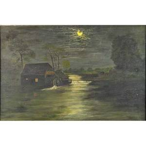 19th c american landscape oil on canvas of moonlit water mill framed 40 x 60 provenance lambertville station collection nj