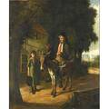 Charles hunt ii british 18291900 oil on canvas genre scene of a peddler and his donkey framed signed 24 12 x 20