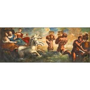 19th c european school painting oil on canvas of greek mythological scene framed 35 x 88