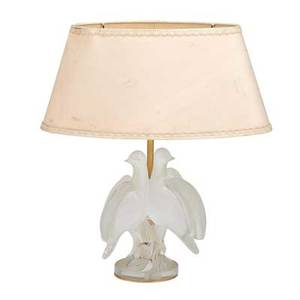 Lalique glass table lamp base with two turtle doves in frosted glass and original shade late 20th c script signature lalique france base 8 12