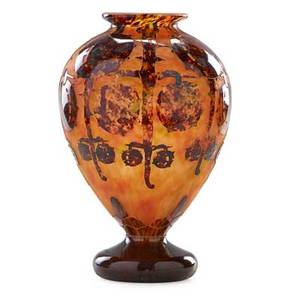 Le verre francais cameo glass vase acidetched with marrons motif ca 1930 signed le verre francais 12 12 x 8