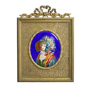 French enamel plaque woman in period costume with gilded easel frame late 19th c artists cipher 3 34 x 3 sight