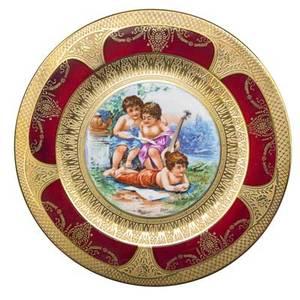 Set of limoges porcelain plates twelve transfer decorated genre scenes with gilt highlights 20th c marked limoges france 10 58 dia