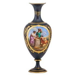 Paris porcelain vase handpainted reserve on ebonized ground with gilt highlights 19th c 20