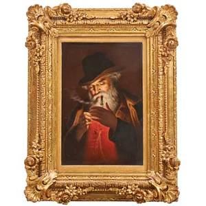 German porcelain plaque raucher the smoker handpainted portrait early 20th c factory stamp 8 34 x 5 33 framed