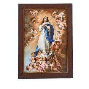 Kpm porcelain plaque transfer decorated with scene of virgin mary and cherubs early 20th c flame mark 10 34 x 7 12