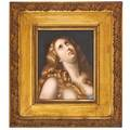Kpm porcelain plaque handpainted woman with blonde flowing hair and eyes looking skyward early 20th c flame mark 11 x 9