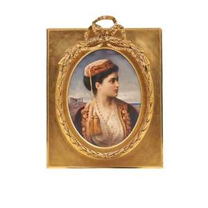 Kpm porcelain plaque the turkish beauty handpainted portrait of an ottoman woman early 20th c flame mark 12 x 10 framed