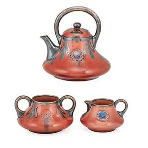 Moorcroft flamminian tea serivce three teapot creamer and sugar with sterling overlay ca 1905 made for shreve  co of san francisco signed teapot 7 x 6 12