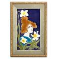 Johann von schwarz pottery tile art nouveau tile of a maiden and daffodils germany ca 1900 framed unmarked sight 10 14 x 5 34