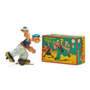 Popeye tin toy roller skater with litho windup mechanism in original box by linemar with copyright of king features mid 20th c 3 x 6 58 x 4 12