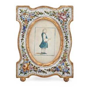 Continental mosaic glass frame floral design with a watercolor of an englishman late 19th early 20th c 10 framed