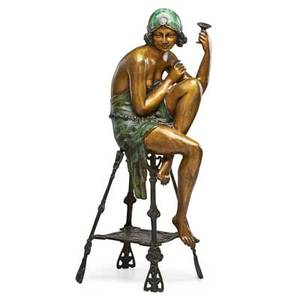 Continental bronze sculpture art deco style woman with legs crossed and holding a cup 20th c 29 12 x 10 x 10