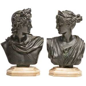 Pair of continental bronze busts apollo and artemis each on white marble base after the antique 19th c 10 12