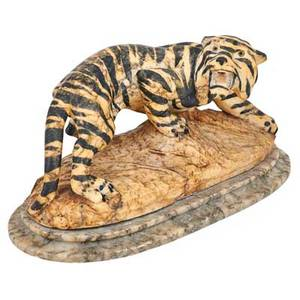 Continental alabaster sculpture carved figure of a tiger with hand painted stripes on marble base 20th c 9 x 19 12 x 8