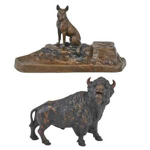 Austrian bronze figures two german shepard inkwell together with a bison figure early 20th c taller 7