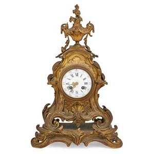French dore bronze mantel clock louis xv style with eight day time and strike movement ca 1900 18 x 11 x 5 12