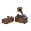 Edison home phonograph oak case complete with horn and lid early 20th c case 12 12 x 16 x 9