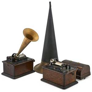 Edison cylinder phonograph two each with oak case and standard horn early 20th c 11 12 x 12 12 x 9