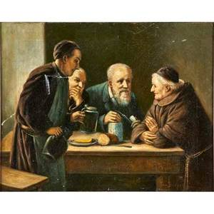 Ferdinand von stoopendaal swedish18501930 oil on canvas genre scene of a table side conversation among four men framed signed 16 x 20