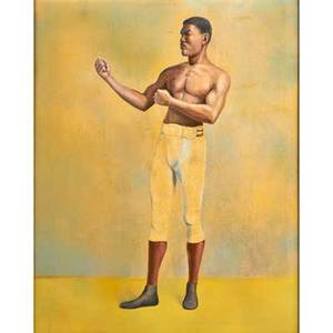 Pair of early 20th c american boxing portraits two oil on canvas paintings of men in upright stance framed 27 14 x 22