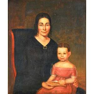 19th c american school portrait oil on canvas of mother and child framed 36 x 30
