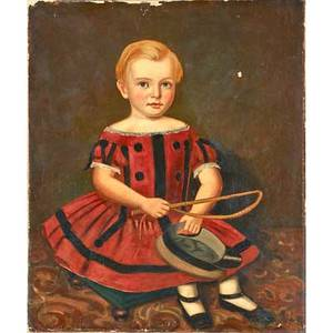 19th c american school portrait oil on canvas of boy holding hat and riding crop 30 x 25