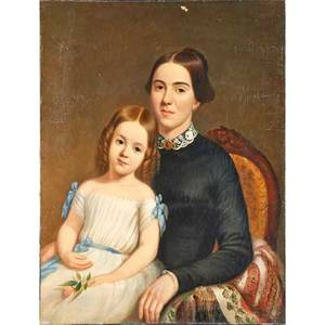 19th c american portrait oil on canvas of mother and child marked j h wright poughkeepsie on stretcher 34 x 27