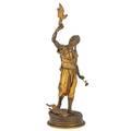 Pierrejules mene french 18101879 falconnier parcelgilt bronze of male figure signed 26 12 x 8 12