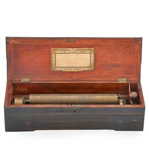 Swiss cylinder music box six tunes with forte piano late 19th c marked geneva 4 x 20 x 6 12