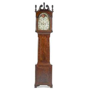 Baltimore grandfather clock mahogany case on french feet with painted dial eight day time and strike movement four pillars twin train and anchor escapement late 18th c signed jacob wolf 97
