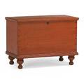 American blanket chest red washed pine on turned feet mid 19th c 22 12 x 31 x 16 12