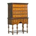 American william and mary highboy maple veneer with four graduated drawers over three drawer stretcher base 18th c 62 x 41 20 12