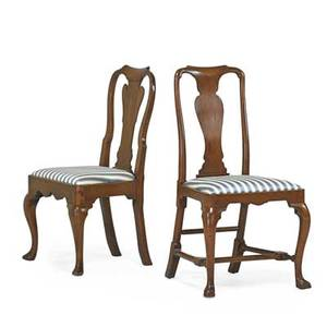 Queen anne side chairs two one in mahogany with cabriole leg and and one in walnut on spanish feet 20th c taller 39 x 21 x 17